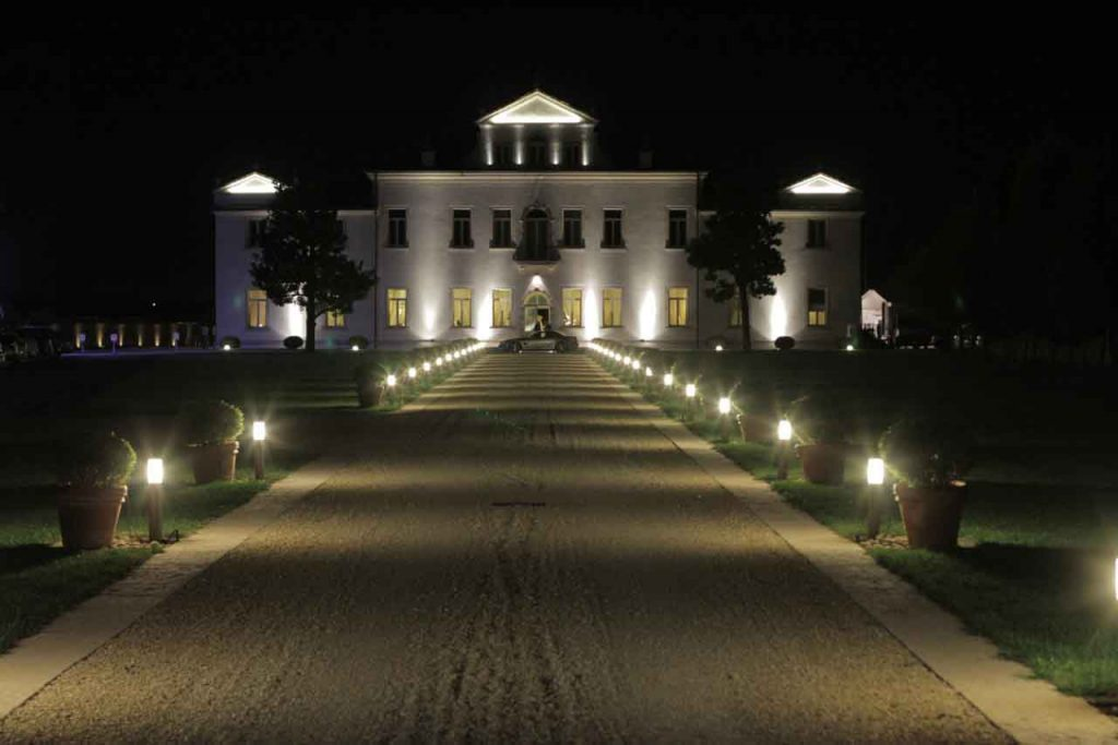 beautiful authentic venetian villa of 16th century by night with lights